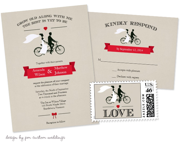 Bicycle Wedding Trend | Tandem Bicycle Vintage Wedding Invitations by PM Custom Weddings