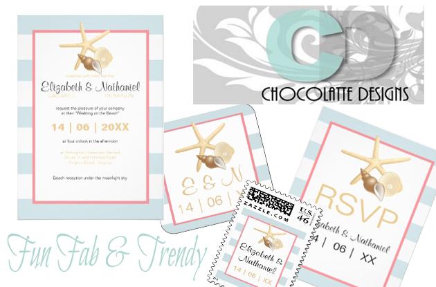 Chocolatte Designs Beach Invites