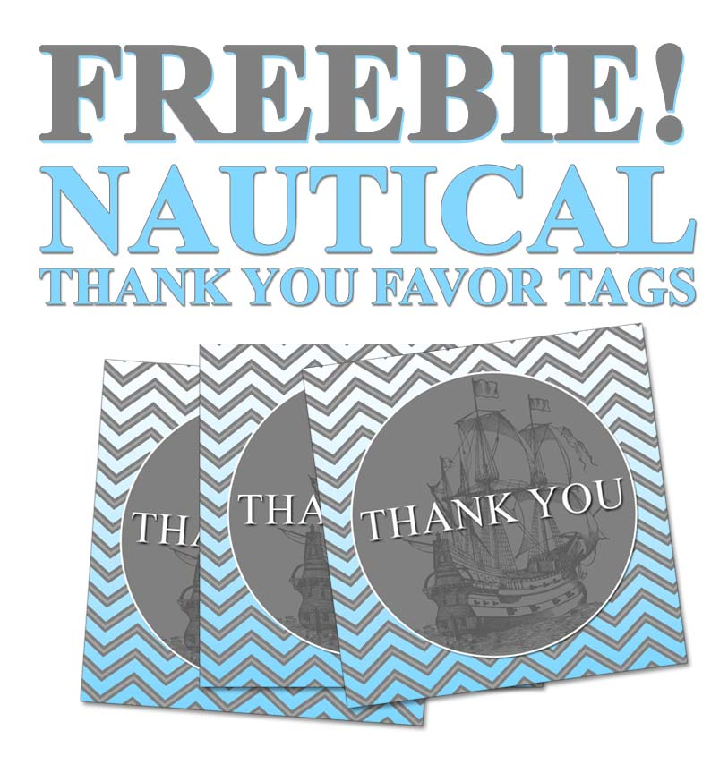 Freebie Nautical Thank You Party Favor Tags