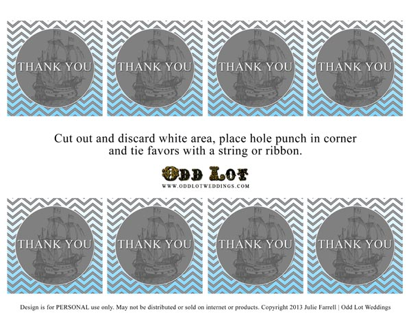 Free Printable Blue Grey Nautical Thank You Party Favor Tags