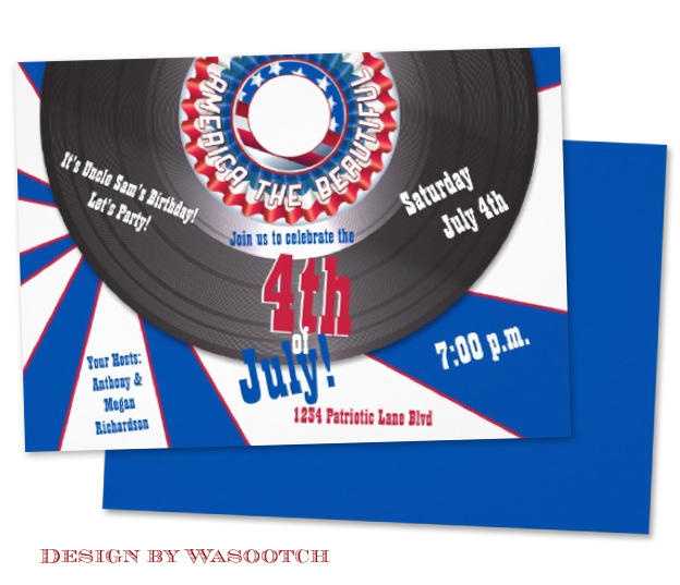 4th July Independence Day Record Patriotic Design Invitation by Wasootch