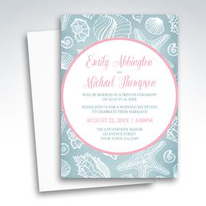 Beach Reception Invitations - Blue Seashell Pink