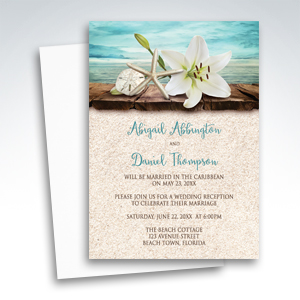Beach Reception Only Invitations - Lily Seashells and Sand