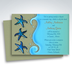 Tropical Post Wedding Reception Only Invitations Paua Shell Starfish Beach