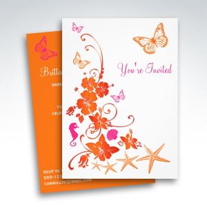 Pink Orange White Tropical Beach Post Wedding Invitations