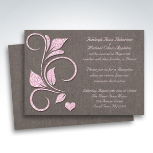 Printed Pink Glitter Rustic Reception ONLY Invitations