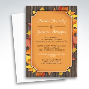 Reception Invitations - Autumn Orange Wood Leaves