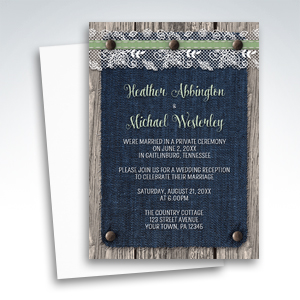 Reception Invitations - Denim Wood Country Rustic