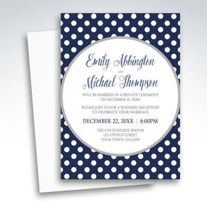 Reception Invitations - Gray Navy Blue Polka Dot