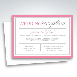 Reception Invitations - Modern Pink and Gray