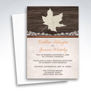 Reception Invitations - Rustic Autumn Wood Leaf Orange