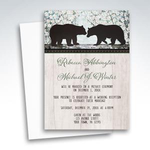 Reception Invitations - Rustic Bear Floral Wood