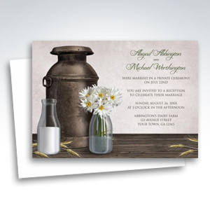 Reception Invitations - Rustic Country Dairy Farm