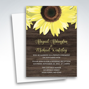 Reception Invitations - Rustic Sunflower and Wood