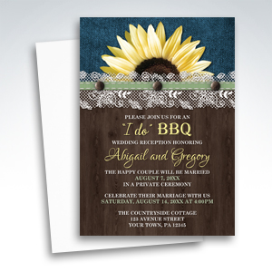 Reception Invitations - Sunflower Denim Wood Lace I Do BBQ