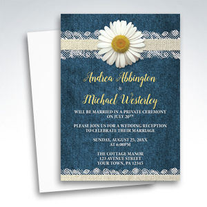 Reception Only Invitations - Daisy Burlap and Lace Denim