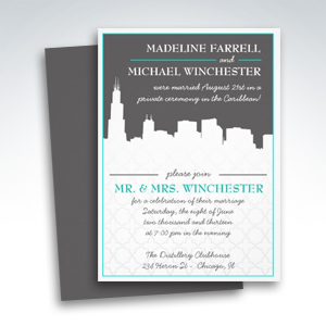 Reception Only Urban Chicago Skyline Wedding Invitations