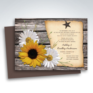 Rustic Sunflower Daisy Wedding Reception Only Invitations