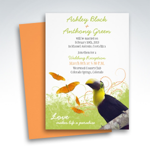 Tropical Toucan Destination Wedding Reception Only Invitations
