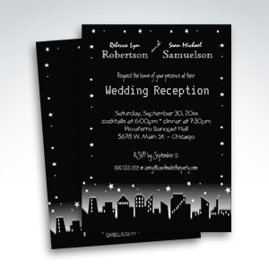 Urban Cityscape And Stars Reception Only Invitations