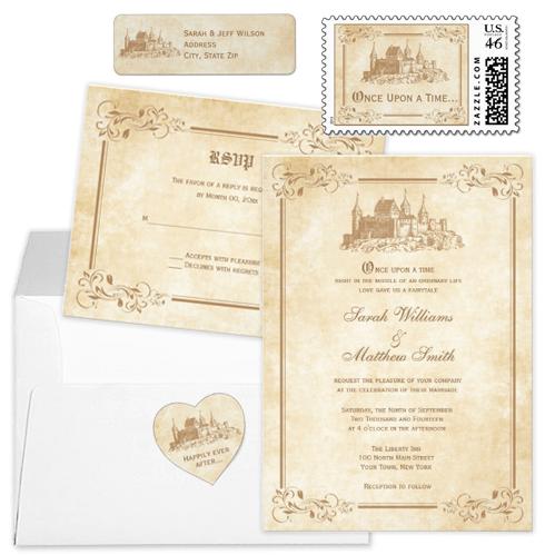 Castle and flourish once upon a time fairytale wedding invitation set