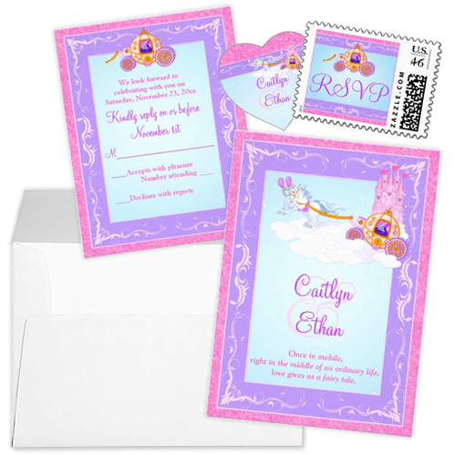Pink and purple carriage and castle fairytale wedding invitation stationery set