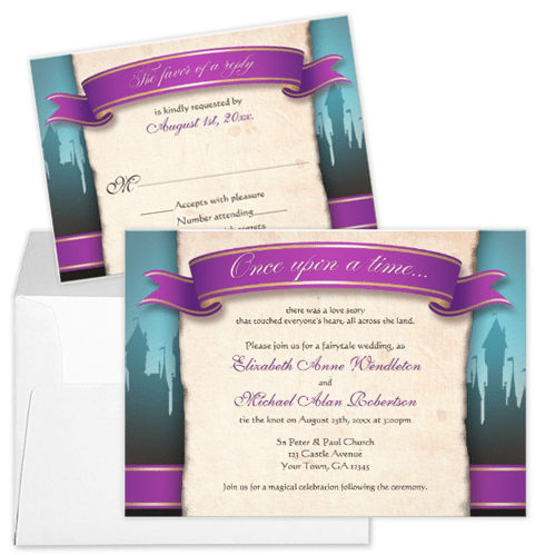 Purple Banner and Castle Fairytale Wedding Invitation and RSVP Card