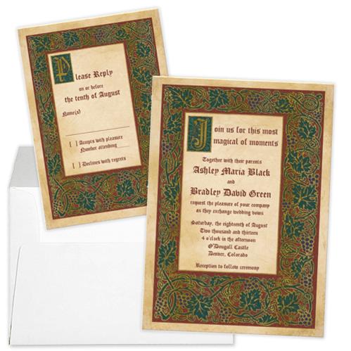 Unique medieval illuminated manuscript fairytale wedding invitation and rsvp