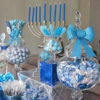 Hanukkah Blue and Silver Dessert Table
