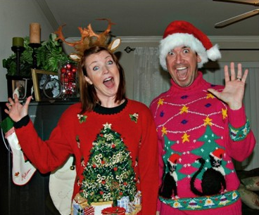 a stylish couple in their ugly christmas sweaters - How To Decorate A Ugly Christmas Sweater
