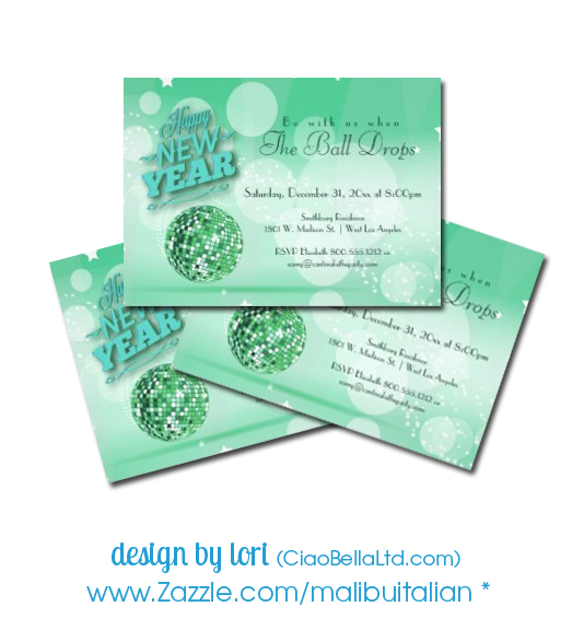 green disco ball new year's eve party invitation
