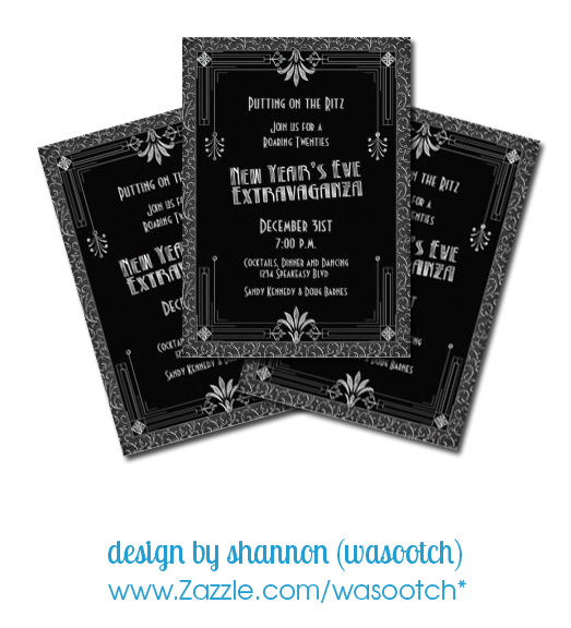 silver black art deco new year's eve party invitation