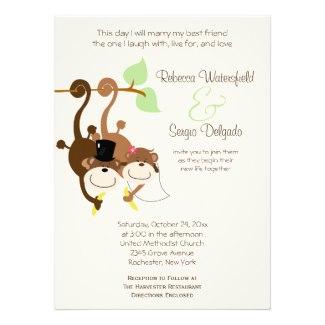 Bride and Groom Monkey Offbeat Wedding Invitation