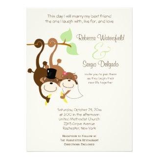 Bride and Groom Monkey Offbeat Wedding Invitation