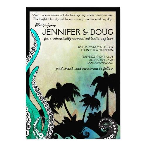 offbeat octopus destination wedding invitation
