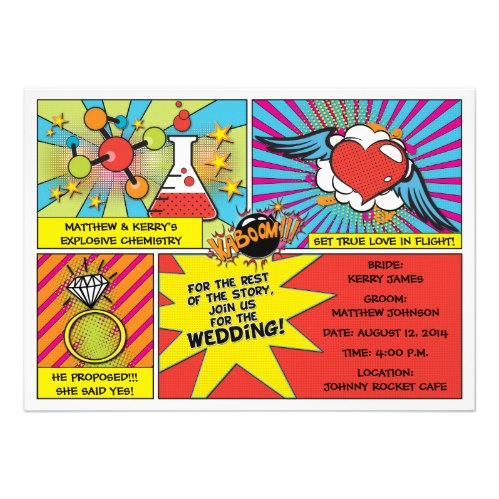 pop art comic strip wedding invitation