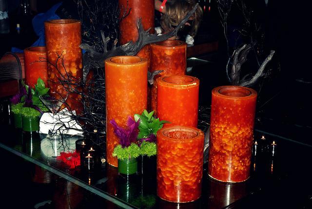 Orange candle party decor