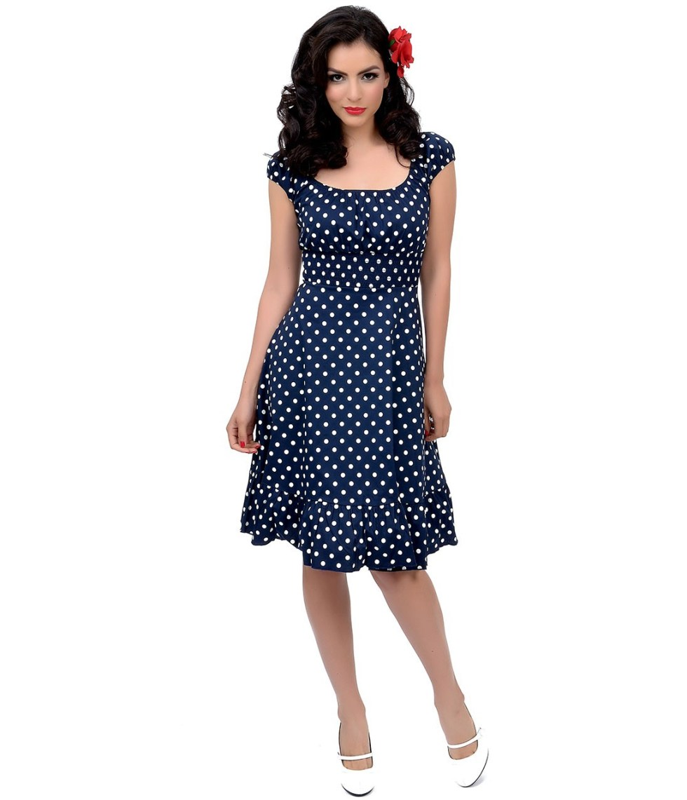 navy blue white polka dresss from unique vintage