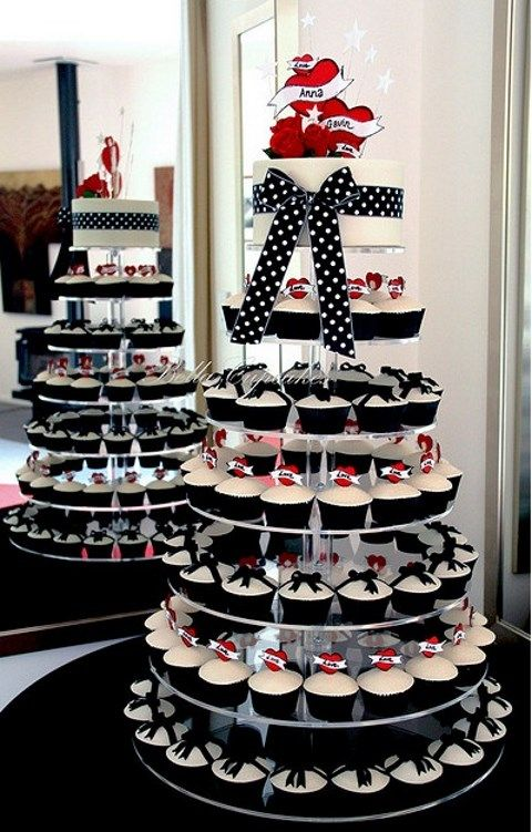 polka dot wedding cupcake stand