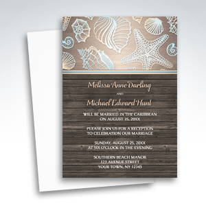 Reception Invitations - Rustic Wood Beach Seashell