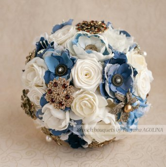 denim wedding bouquet from MagnoliaHandmade of Etsy