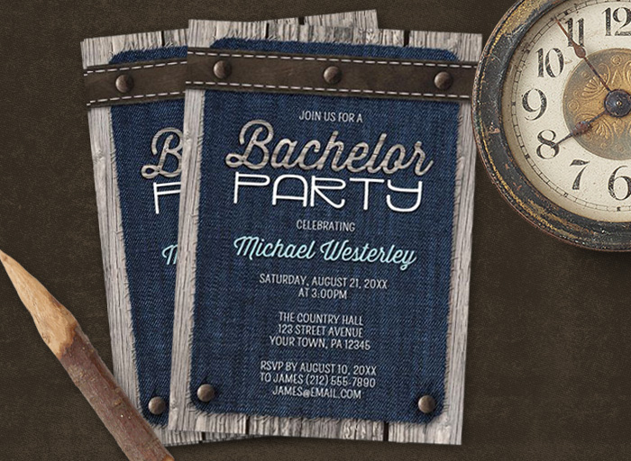 Rustic Stag Party Invitations