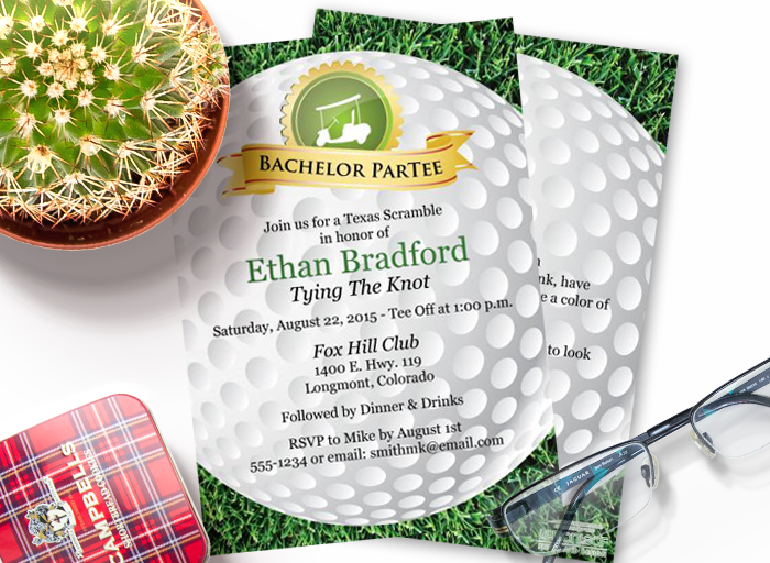 Golf Outing Bachelor Party Invitations