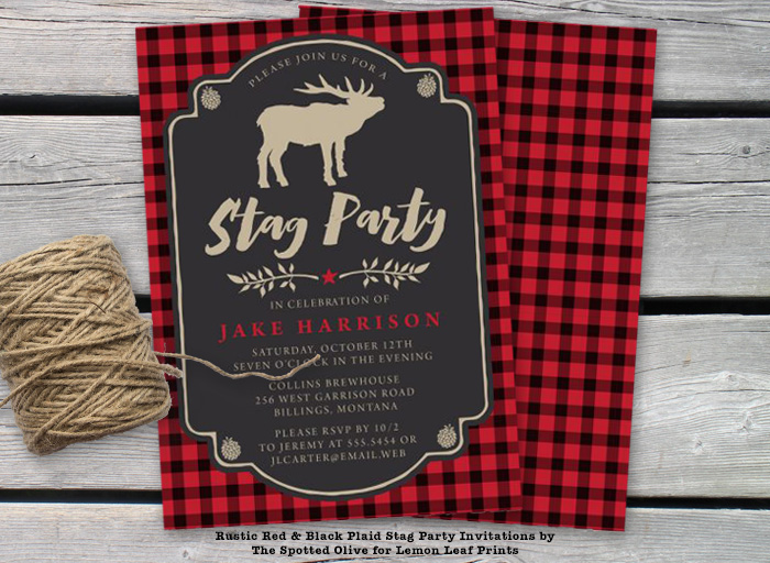 Rustic Red & Black Plaid Bachelor Party Invitations