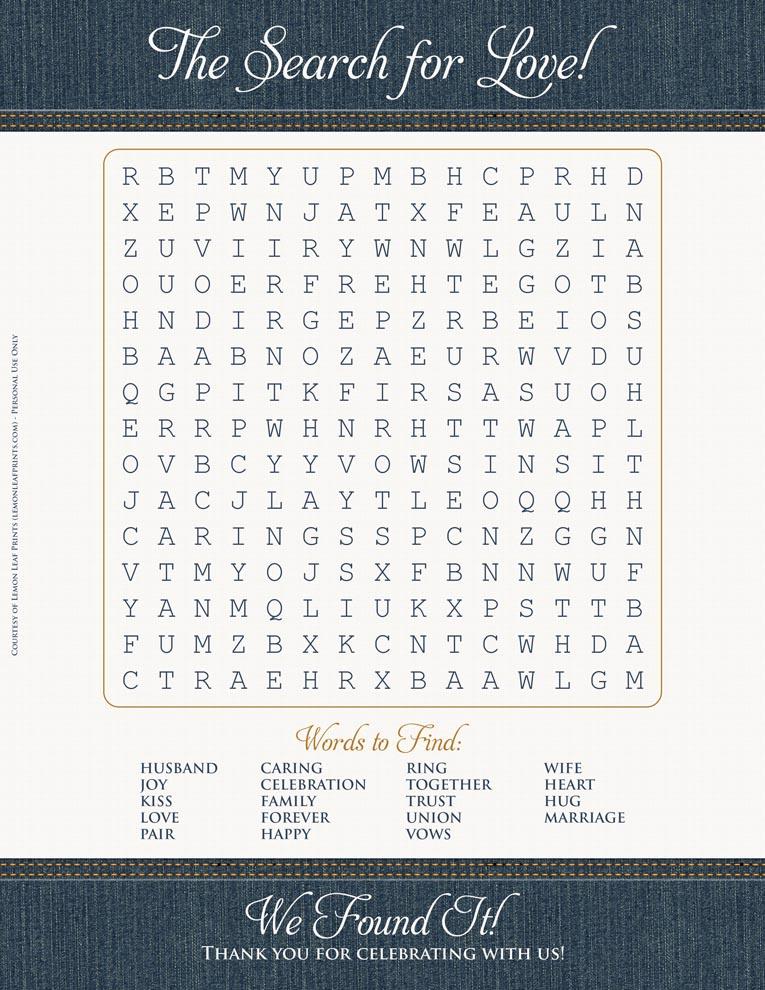 denim wedding free printable - word search game