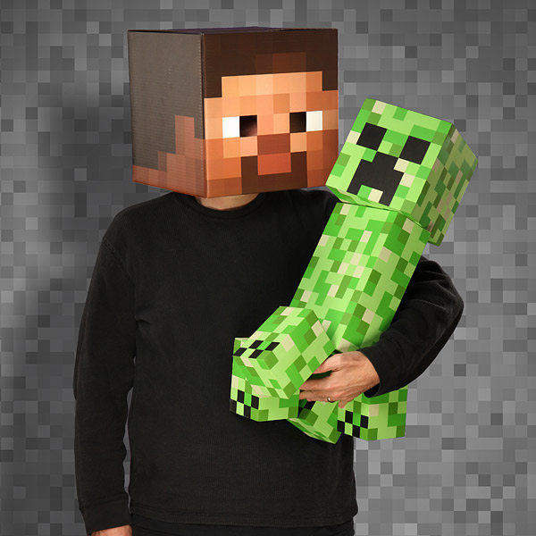 Foam creeper and Steve head mask from the Minecraft store