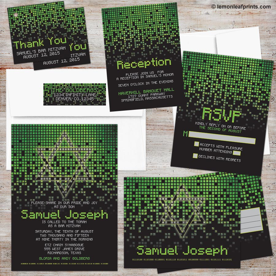 Green Black Pixel Minecraft Inspired Bar Mitzvah invitation Set
