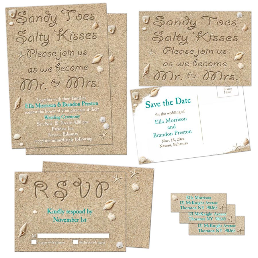 turquoise beach sand and shells sandy toes salty kisses wedding invitation set