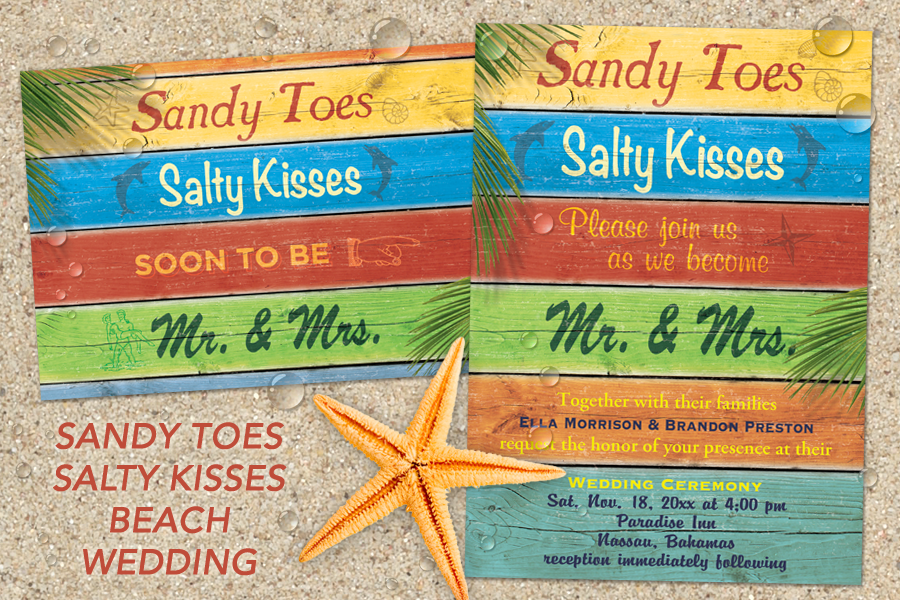 Sandy toes and salty kisses beach wedding invitations and ideas