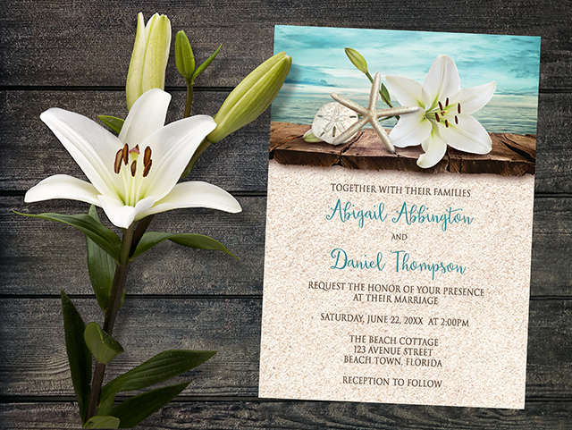 Lily Seashells and Sand Beach Wedding Invitations